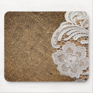 bohemian rustic western country burlap and lace mouse pad