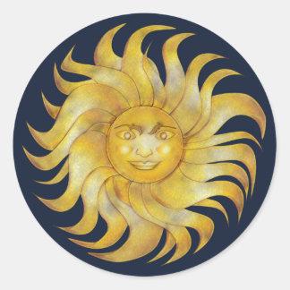 Bohemian Smiling Sun on Blue #1 Classic Round Sticker
