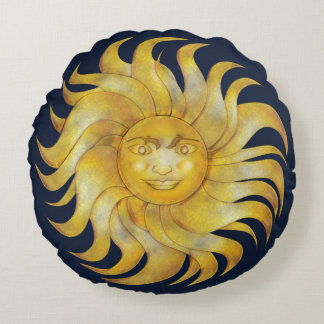 Bohemian Smiling Sun on Blue #1 Round Pillow