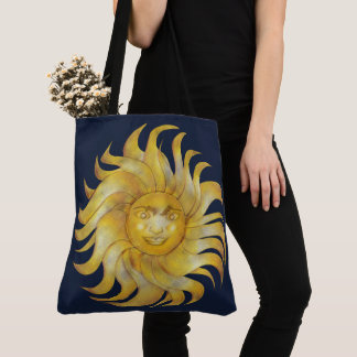 Bohemian Smiling Sun on Blue #1 Tote Bag