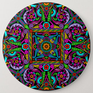 Bohemian Stained Glass Style 6 Inch Round Button