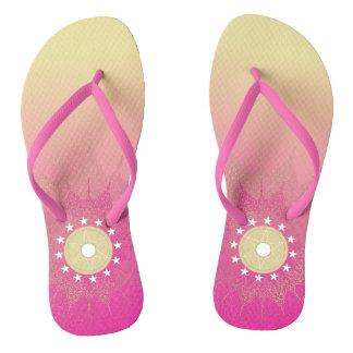 Bohemian star mandala. flip flops