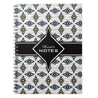 Bohemian style blue yellow diamond shaped design spiral notebook