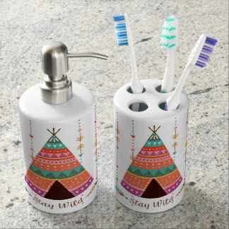 Bohemian Style Hand Soap & Toothbrush Set