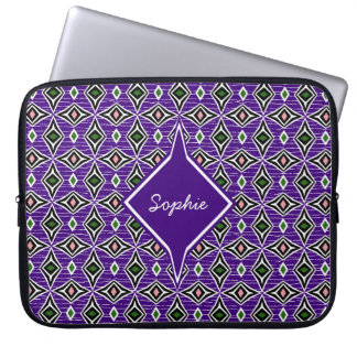 Bohemian style purple green diamond shaped design laptop sleeve