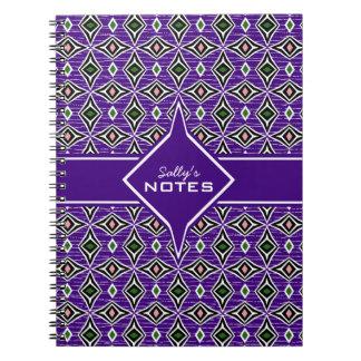 Bohemian style purple green diamond shaped design notebooks