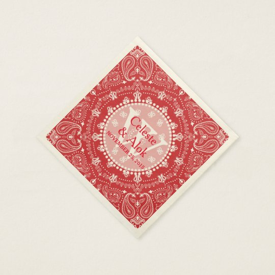 Bohemian Style Red Paisley Wedding Custom Disposable Napkins