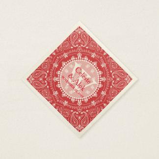Bohemian Style Red Paisley Wedding Custom Paper Napkin