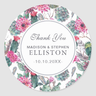 Bohemian Succulent & Floral   Thank You Classic Round Sticker
