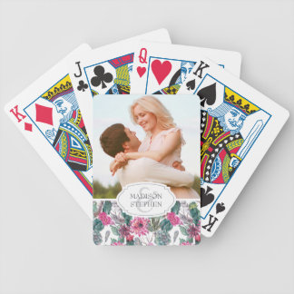 Bohemian Succulent & Floral - Wedding Photo Bicycle Playing Cards