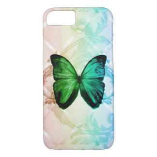 Bohemian swirls rainbow colors green butterfly Case-Mate iPhone case