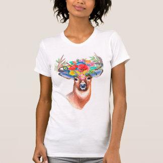 Bohemian Watercolor Floral Deer T-Shirt