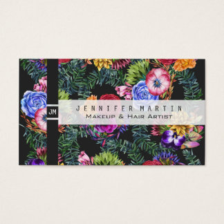 Bohemian Watercolor Flowers and Tropical Leaves Business Card