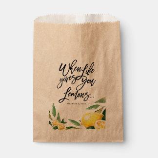 Bohemian Watercolor Lemon Wedding Favour Bag