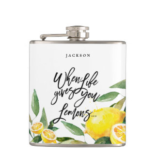 Bohemian Watercolor Lemon Wedding Flask