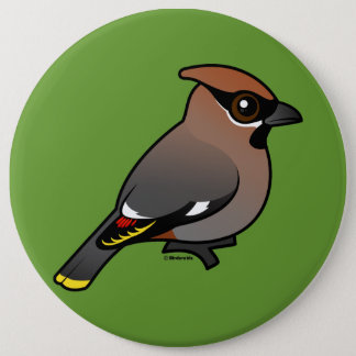 Bohemian Waxwing 6 Inch Round Button