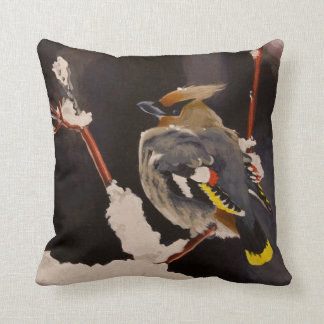 Bohemian Waxwing Bird Throw Pillow