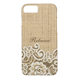 Bohemian Western country rustic burlap and lace iPhone 8/7 Case