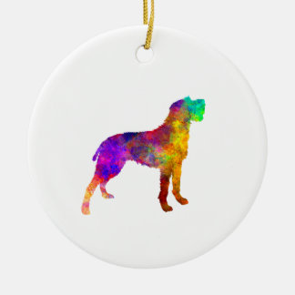 Bohemian Wirehaired Pointing Griffon in watercolor Round Ceramic Ornament