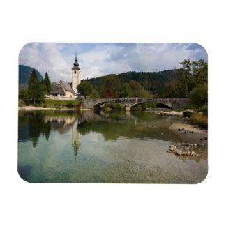 Bohinj lake and church, Slovenia rectangle magnet
