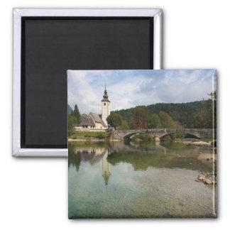 Bohinj lake with church in Slovenia magnet