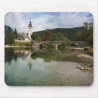 Bohinj lake with church in Slovenia mousepad
