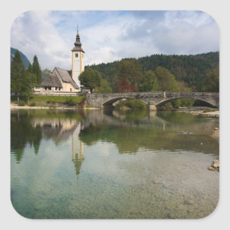 Bohinj lake with church in Slovenia sticker