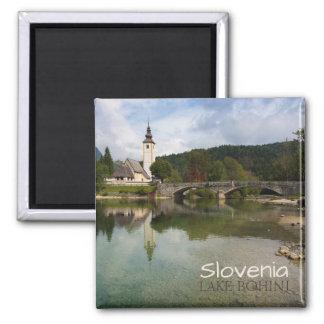 Bohinj lake with church in Slovenia text magnet