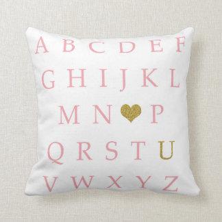 BOHO ABC Sampler Pink Gold Baby Nursery Pillow