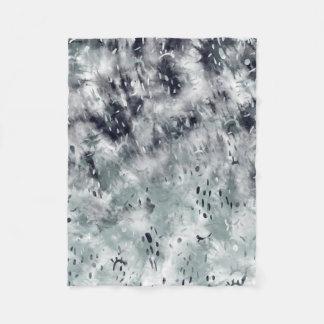 Boho abstract grey black tie dye watercolor fleece blanket