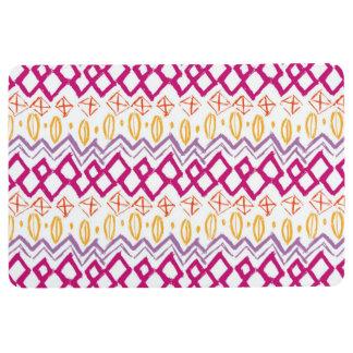 BOHO ABSTRACT PRINT, Pink Purple Yellow Floor Mat