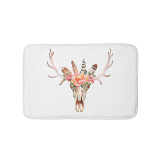 BoHo Animal Skull Watercolor Roses Bath  Mat