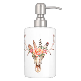 BoHo Animal Skull Watercolor Roses Bath  Set