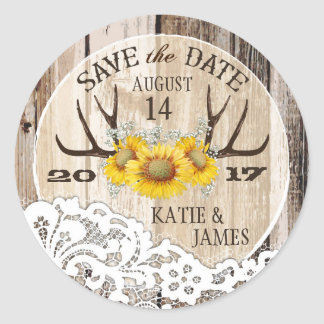 Boho Antler Sunflowers Wood Lace Save the Date Round Sticker