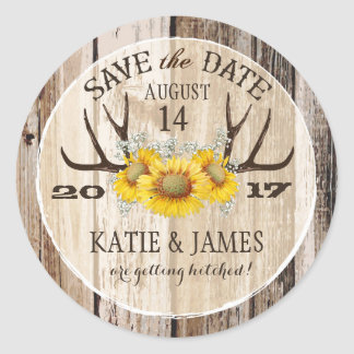 Boho Antler Sunflowers Wood Save the Date Classic Round Sticker