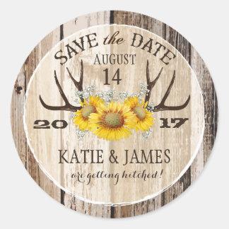 Boho Antler Sunflowers Wood Save the Date Round Sticker