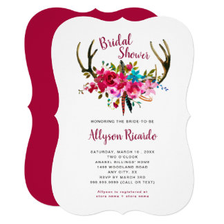 Boho Antlers Fuchsia Pink Floral Bridal Shower Card