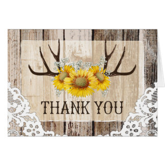 Boho Antlers Rustic Wood Sunflowers Lace Thank You Card