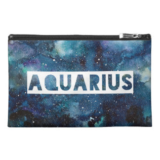 Boho Aquarius Zodiac Star Sign Blue Galaxy Print Travel Accessory Bag