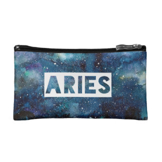 Boho Aries Zodiac Star Sign Blue Galaxy Print Makeup Bag