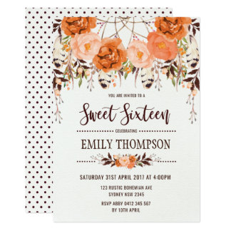 Boho Autumn Floral Sweet Sixteen Dreamcatcher Card