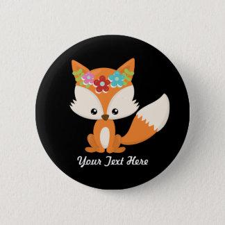 Boho Autumn Fox 2 Inch Round Button