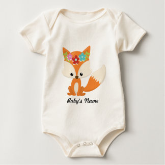Boho Autumn Fox Baby Bodysuit