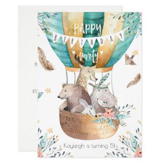Boho Baby Animals Little Girl's Birthday Party Card