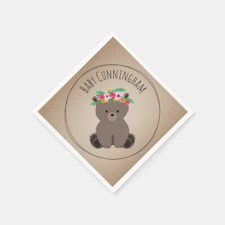 Boho Baby Bear Cub Baby Shower Napkins Disposable Napkin