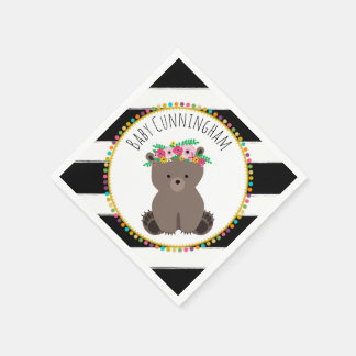 Boho Baby Bear Cub Pompom Baby Shower Napkins Disposable Napkin
