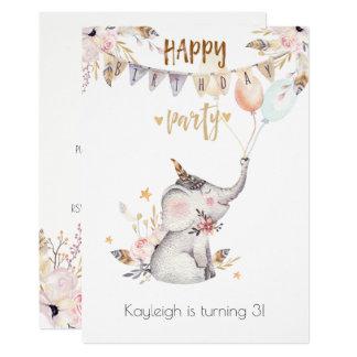 Boho Baby Elephant Little Girl's Birthday Party Card