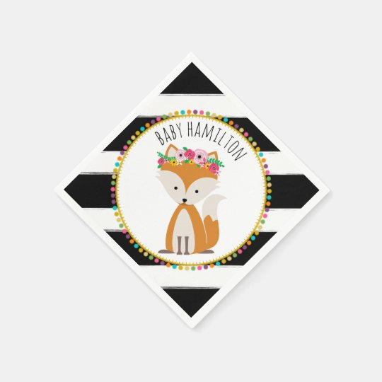 Boho Baby Fox Pompom Baby Shower Napkins Disposable Napkin