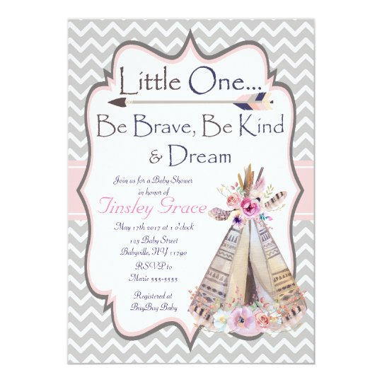 Boho Baby Girl Shower invitation, Tribal Invite