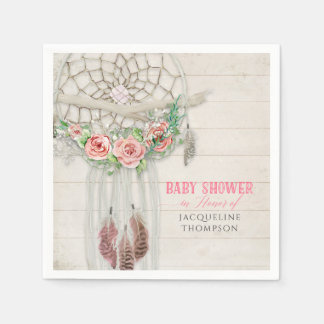 BOHO Baby Shower Feathers Dream Catcher Macrame Paper Napkins